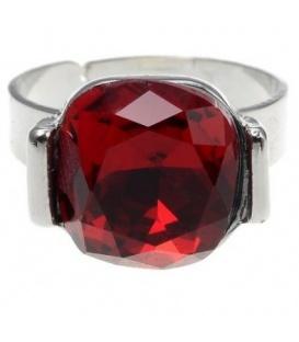 Verstelbare zilverkleurige ring met vierkante rode steen