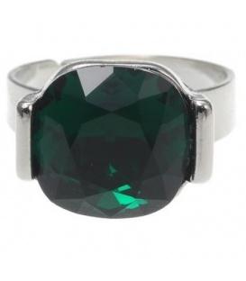 Verstelbare zilverkleurige ring met vierkante donkergroene steen