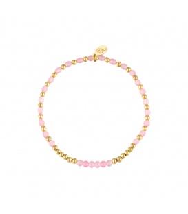 Elastische armband met goudkleurige en roze kraaltjes