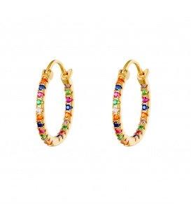 Goudkleurige creolen met gekleurde kleine zirkonia steentjes