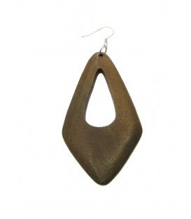 Lichtbruine langwerpige retro houten oorbellen
