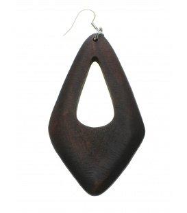 Bruine langwerpige retro houten oorbellen