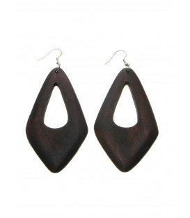 Bruine langwerpige houten oorbellen