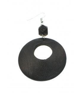 Bruine oorbellen met ronde houten hanger