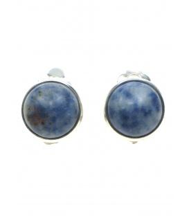 Ronde oorclips (1,3 cm) van blauwe natuursteen