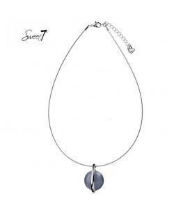 Zilverkleurige dunne ketting met grijze hanger