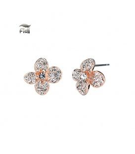 Roségoudkleurige oorknopjes in de vorm van een bloem met steentjes