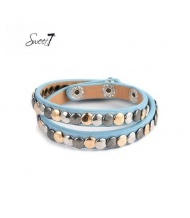 Armband van blauw imitatieleer met kleine cirkeltjes