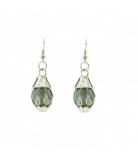 Zilverkleurige oorhangers met transparante grijze kraal