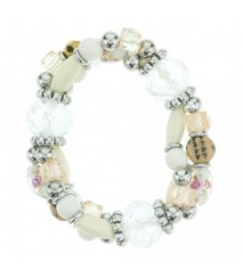 Elastische witte armband met rozenkralen
