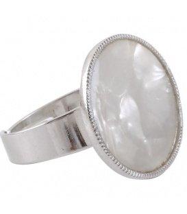 Zilverkleurige verstelbare ring met een ronde steen