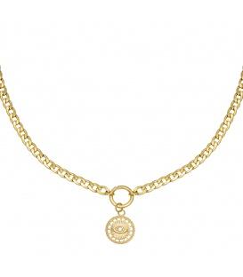 Goudkleurige chain ketting met bedel met oog