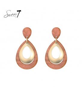 Terra cotta ovale oorhangers van resin