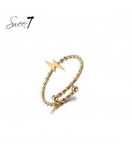 Goudkleurige ring met bliksemschicht
