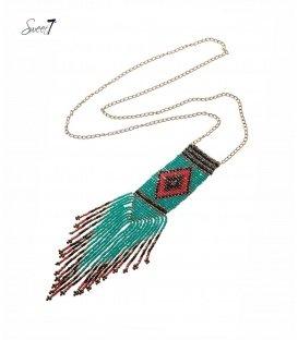 Lange ketting met als hanger een turquoise boho design