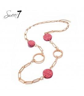 Lange ketting met schakel en ronde roze bedels