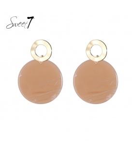 Goudkleurige oorstekers met ronde bruine hanger