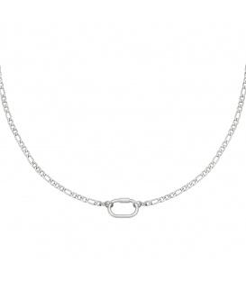 Zilverkleurige ketting met een grote schakel