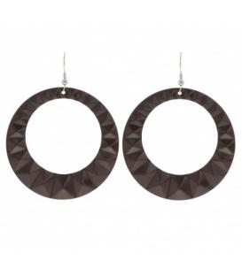 Oorbellen met grote ronde donkerbruine hanger met patroon