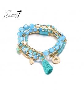 Set van armbanden met blauwe kraaltjes en een kwast