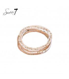 Wikkelarmband met witte en beige kraaltjes