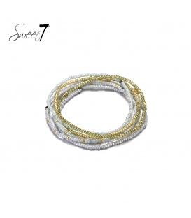 Wikkelarmband met kleine grijze en goudkleurige kraaltjes