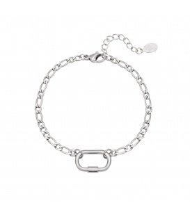 Zilverkleurige armband met een grote schakel
