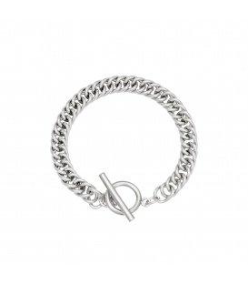 Zilverkleurige chain armband met kapittel sluiting