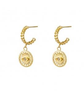 Goudkleurige ronde oorstekers met een ronde hanger met oog