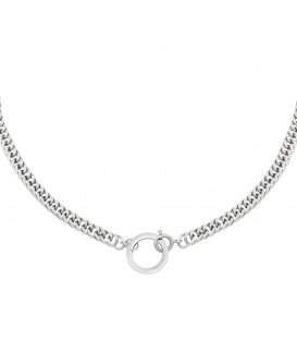 Zilverkleurige chain ketting met een cirkel