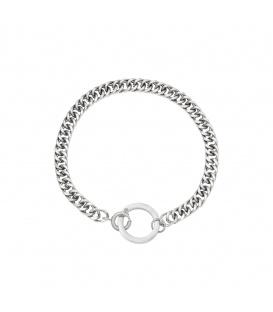 Zilverkleurige chain armband met een cirkel