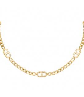 Goudkleurige chain ketting met bedels met steentjes