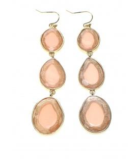 Roze oorhangers met 3 ovale elementen en een goudkleurige rand rondom