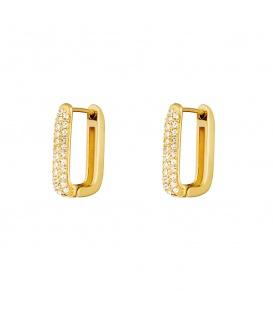Goudkleurige vierkante oorstekers met steentjes groot