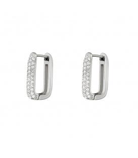 Zilverkleurige vierkante oorstekers met steentjes groot