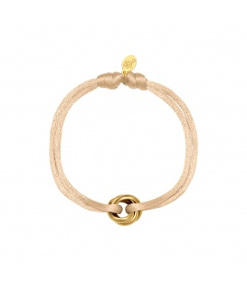 Armband met geel koord en goudkleurig rond clipdetail