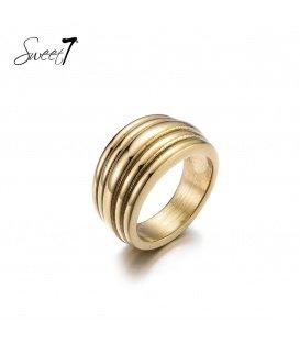Goudkleurige ring met ribbels (19)