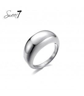 Zilverkleurige simpele ring (19)