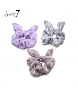 Set van drie scrunchies: paars, grijs en bruin