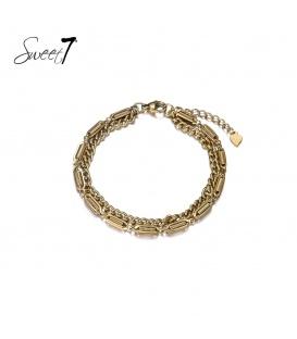 Goudkleurige armband van twee lagen met schakels
