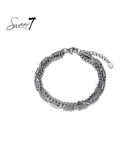 Zilverkleurige armband van twee lagen met schakels