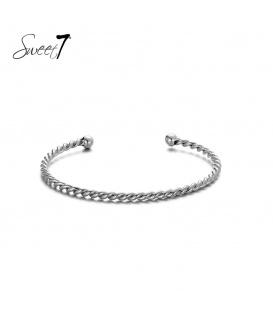 Zilverkleurige gedraaide bangle armband