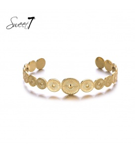 Goudkleurige bangle armband met cirkels