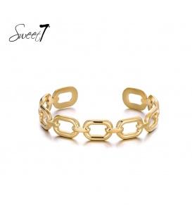 Goudkleurige bangle armband met grote schakels