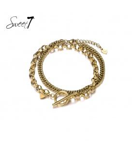 Set van twee goudkleurige armbanden met verschillende schakels