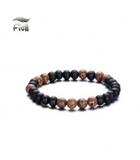 Elastische armband met zwarte en bruine kralen