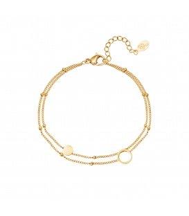 Goudkleurige tweelaagse armband met bolletjes en cirkelvormige bedels