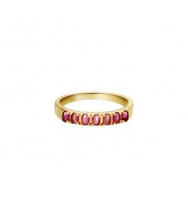 Goudkleurige ring met rode steentjes (16)