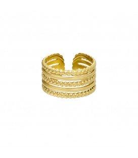 Goudkleurige ring met verschillende lagen