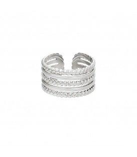 Zilverkleurige ring met verschillende lagen